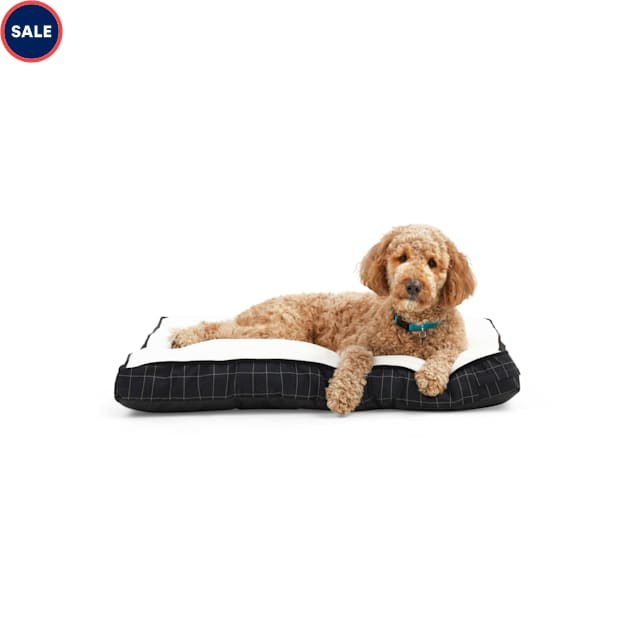 """EveryYay Essentials Snooze Fest Black Windowpane-Print Rectangle Lounger Dog Bed, 40"""" L X 30"""" W - Carousel image #1"""