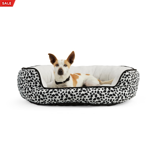 """EveryYay Essentials Snooze Fest Black Floral-Print Round Dog Bed, 36"""" L X 30"""" W - Carousel image #1"""