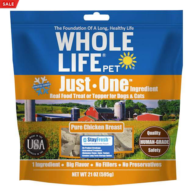 Whole Life Pet Just One Freeze Dried Pure Chicken Breast Whole Food Dog & Cat Treats, 21 oz. - Carousel image #1