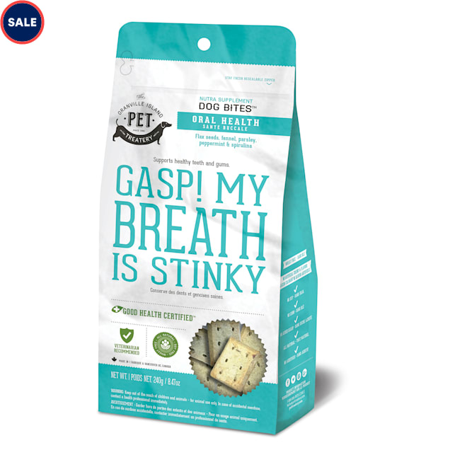 The Granville Island Pet Treatery Nutra Bites Gasp! My Breath is Stinky Functional Bites for Dogs, 240 Gram - Carousel image #1