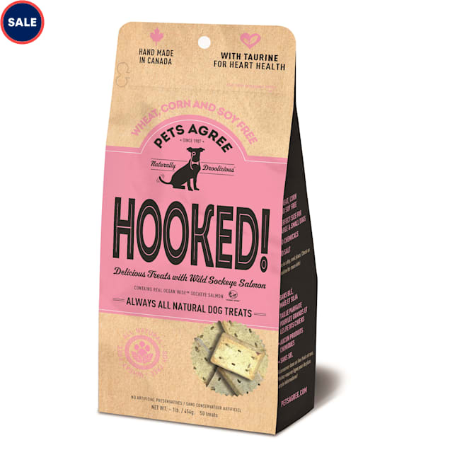 The Granville Island Pet Treatery Pets Agree HOOKED! All Natural Wild Sockeye Salmon Dog Biscuits, 1 lb. - Carousel image #1