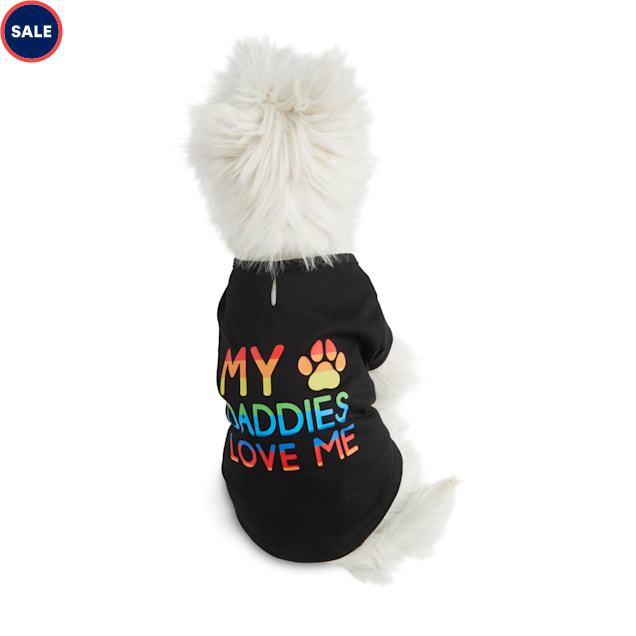 YOULY The Proudest Rainbow My Daddies Love Me Dog T-Shirt, X-Small - Carousel image #1