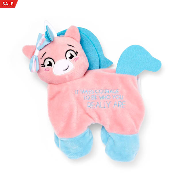 YOULY The Proudest Pink & Blue Unicorn Flattie Plush Dog Toy, Small - Carousel image #1