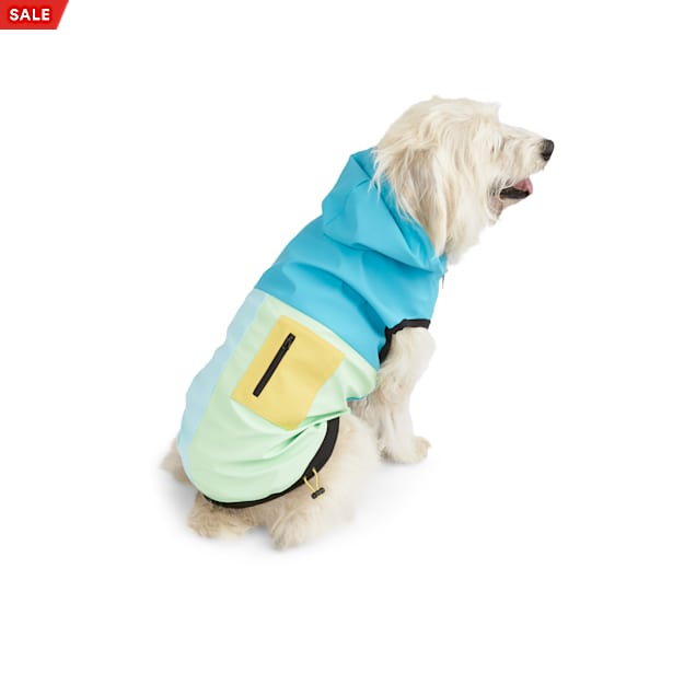YOULY The Nature Lover Blue Colorblocked Dog Raincoat, X-Small - Carousel image #1