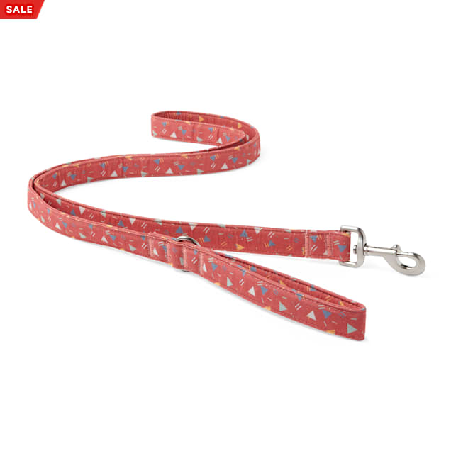 YOULY The Wanderer Red & Multicolor Triangle-Print Dog Leash, 6 ft. - Carousel image #1