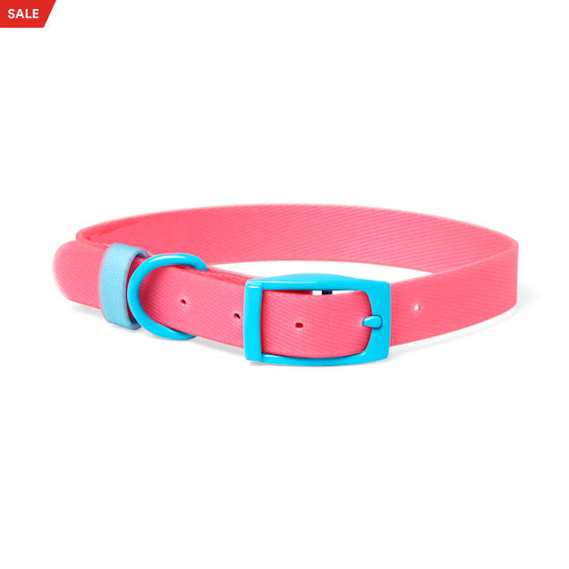 YOULY The Extrovert Water-Resistant Pink & Blue Colorblocked Dog Collar, Small - Carousel image #1