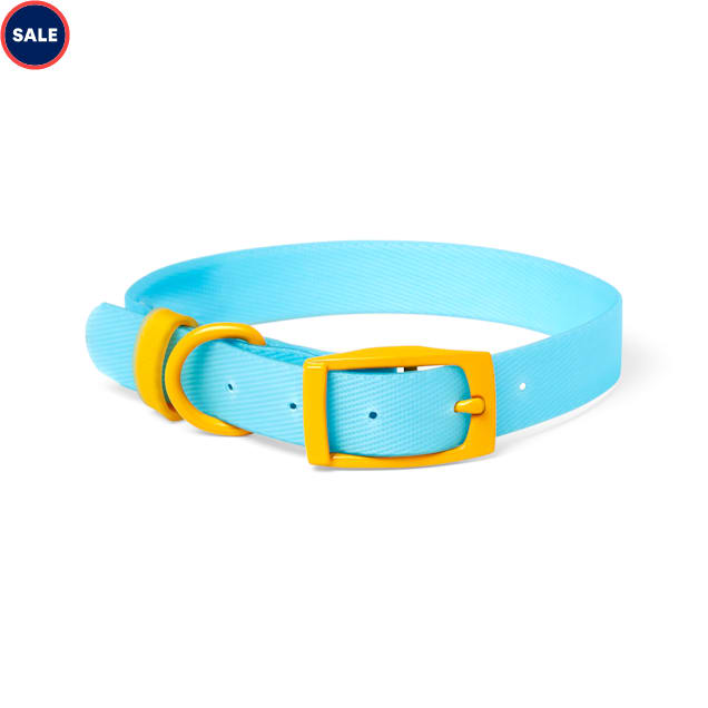 YOULY The Extrovert Water-Resistant Blue & Yellow Colorblocked Dog Collar, Small - Carousel image #1