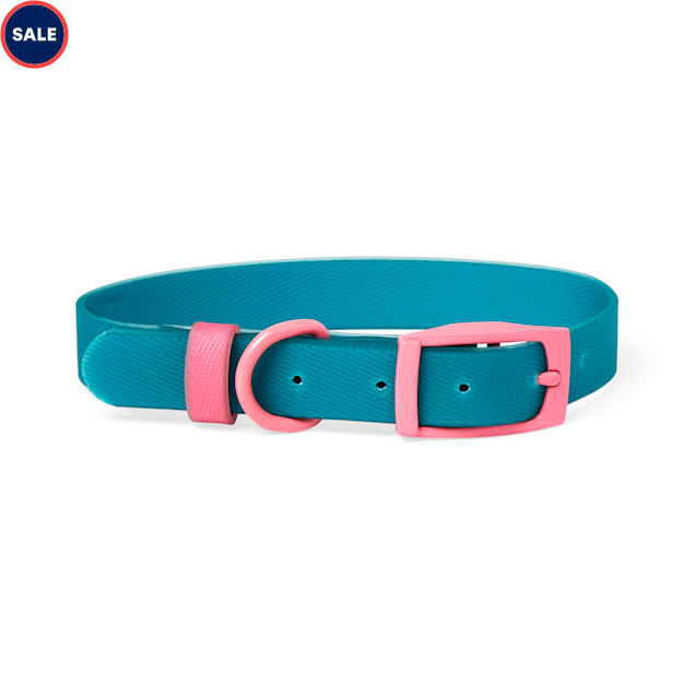 YOULY The Extrovert Water-Resistant Teal & Pink Colorblocked Dog Collar, Small - Carousel image #1