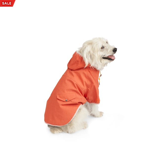 YOULY The Nature Lover Orange Water-Resistant Hooded Dog Jacket, X-Small - Carousel image #1
