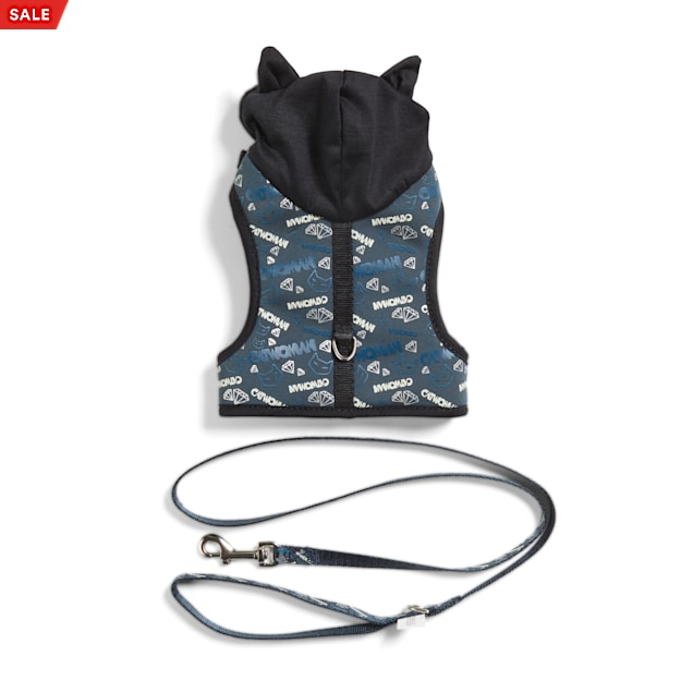DC Comics Black & Grey Catwoman Hooded Harness and Leash Set for Cats - Carousel image #1