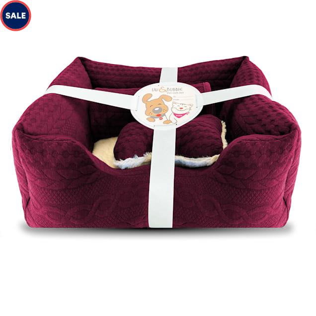 "Viv & Bubbie Red Gift Dog Bed Set, 3 Piece, 19"" L X 16"" W - Carousel image #1"