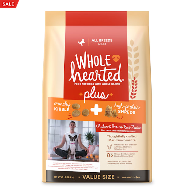 WholeHearted Plus Chicken & Brown Rice Recipe with Whole Grains Dry Dog Food, 45 lbs. - Carousel image #1