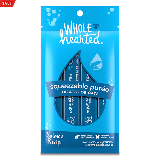 Whole Hearted Salmon Recipe Squeezable Puree Cat Treats, 0.5 oz., Count of 4 - Carousel image #1