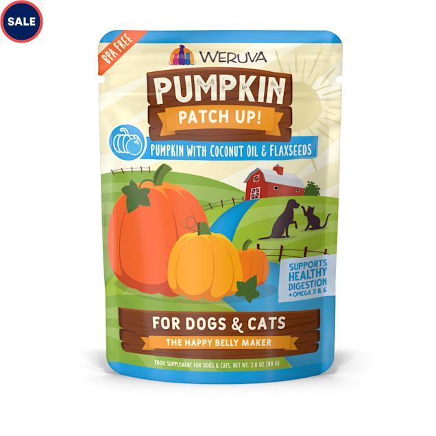 Weruva Pumpkin Patch Up! Pumpkin with Coconut Oil & Flaxseeds Food Supplement for Dogs and Cats, 2.8 oz., Case of 12 - Carousel image #1