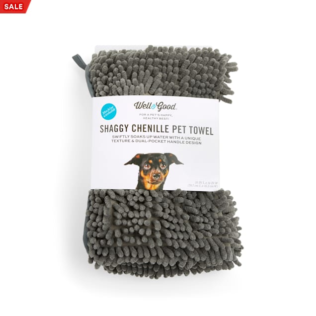 Well & Good Shaggy Chenille Pet Towel in Various Styles, Medium - Carousel image #1