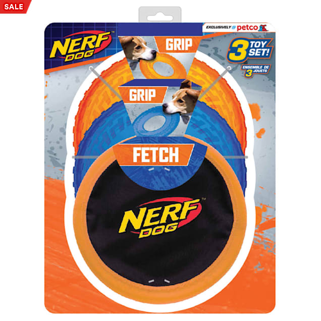 Nerf Two Translucent TPR Tire Flyer and Ultraplush Toss Tug Ring Dog Toy, Small, Pack of 3 - Carousel image #1