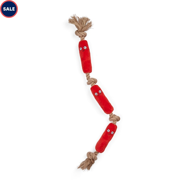 YOULY Started As A Bottle Recycled & Reinvented Hot Dog Links Plush & Rope Dog Toy, X-Large - Carousel image #1