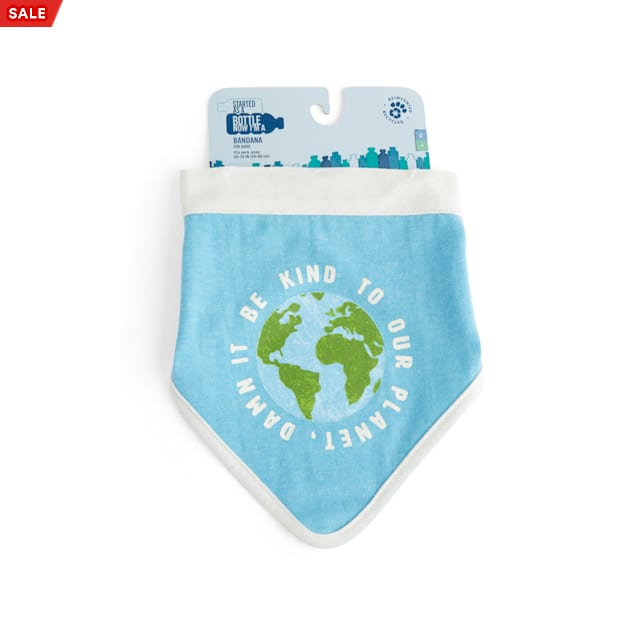 YOULY Started As A Bottle Recycled & Reinvented Earth Day Dog Bandana, Small/Medium - Carousel image #1