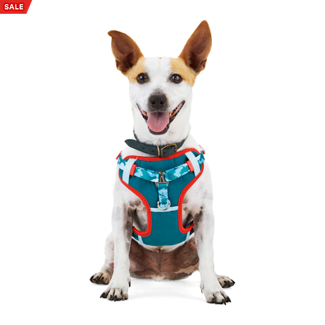 YOULY Started As A Bottle Recycled & Reinvented Blue Camo & Red Fern-Print Dog Padded Step-In Harness, Small - Carousel image #1