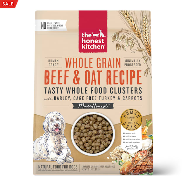 The Honest Kitchen Whole Food Clusters Whole Grain Beef & Oat with Barley, Cage Free Turkey & Carrots Dry Dog Food, 5 lbs. - Carousel image #1