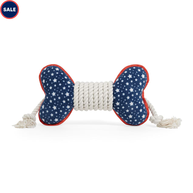 YOULY The Citizen Americana Collection USA Star Flyer Rope Bone Dog Toy, Medium - Carousel image #1