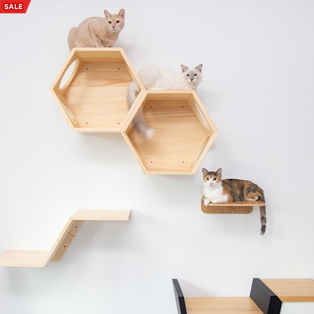 MYZOO AndMakers BusyCat Wall Mounted Burly Wood Cat Shelves - Carousel image #1