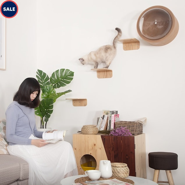 MYZOO AndMakers Lack Wall Mounted Cat Shelves, Count of 2 - Carousel image #1
