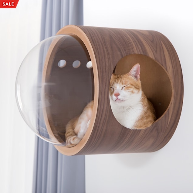 MYZOO AndMakers Spaceship Walnut Gamma Wall Mounted Cat Bed On the Left - Carousel image #1
