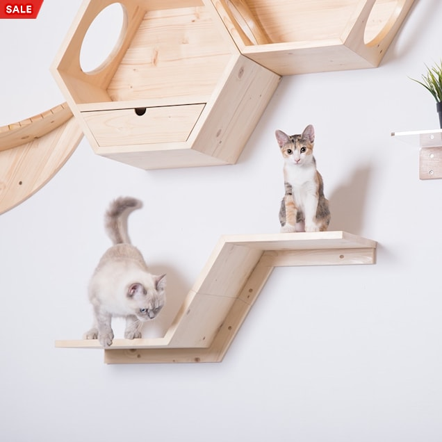 MYZOO AndMakers Zone Wall Mounted Floating Perch-Left Higher Cat Shelves - Carousel image #1