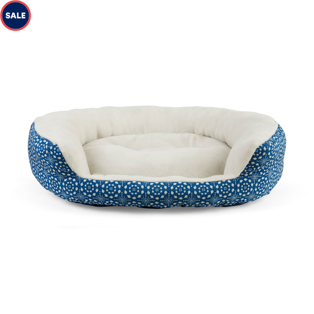 """EveryYay Essentials Snooze Fest Blue Tile-Print Round Dog Bed, 36"""" L X 30"""" W - Carousel image #1"""