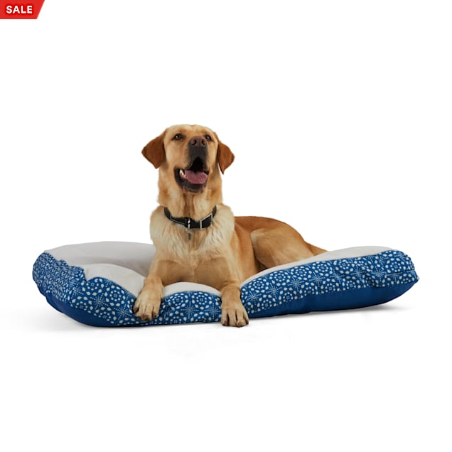 """EveryYay Essentials Snooze Fest Blue Marble-Print Rectangle Lounger Dog Bed, 40"""" L X 30"""" W - Carousel image #1"""