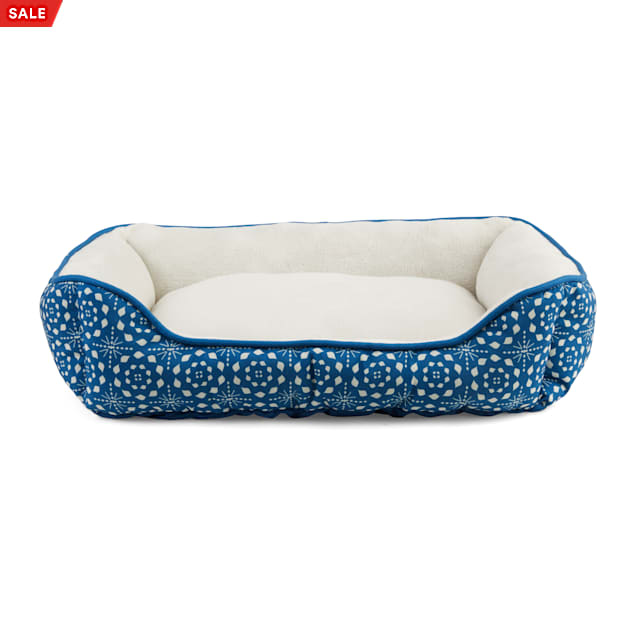 """EveryYay Essentials Snooze Fest Blue Tile-Print Rectangle Bed, 24"""" L X 18"""" W - Carousel image #1"""