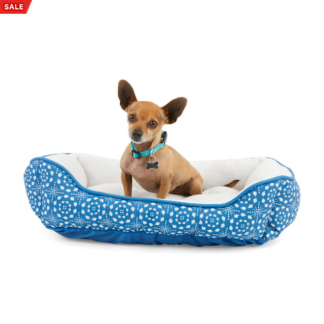 """EveryYay Essentials Snooze Fest Blue Tile-Print Rectangle Dog Bed, 24"""" L X 18"""" W - Carousel image #1"""