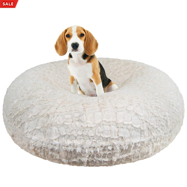 """Bessie and Barnie Signature Serenity Ivory Luxury Extra Plush Faux Fur Bagel Dog Bed, 24"""" L X 24"""" W - Carousel image #1"""