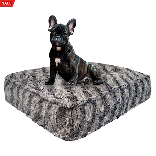 """Bessie and Barnie Arctic Seal Luxury Extra Plush Faux Fur Rectangle Dog Bed, 28"""" L X 24"""" W - Carousel image #1"""