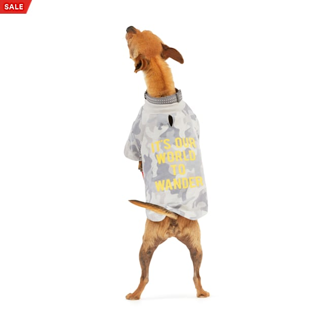 Reddy It's Our World To Wonder Grey Camo Dog T-Shirt, X-Small - Carousel image #1