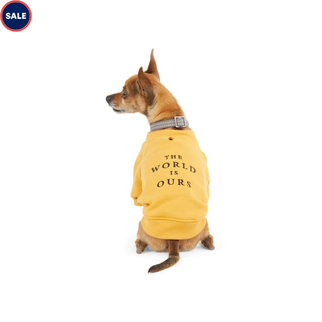Reddy The World Is Ours Yellow Dog Crewneck Sweatshirt, X-Small - Carousel image #1