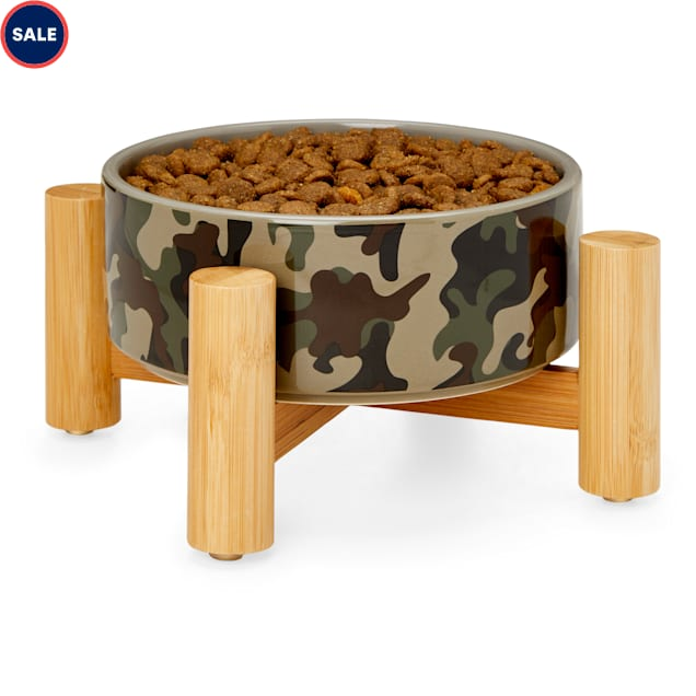 Reddy Camo Ceramic & Bamboo Elevated Dog Bowl, 3 Cups - Carousel image #1