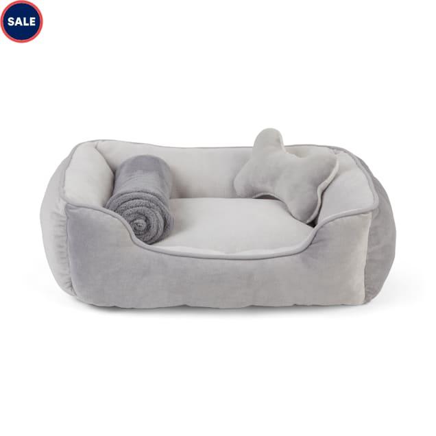 "EveryYay Essentials Grey Snooze Fest Dog Bed Bundle, 22"" L X 18"" W - Carousel image #1"
