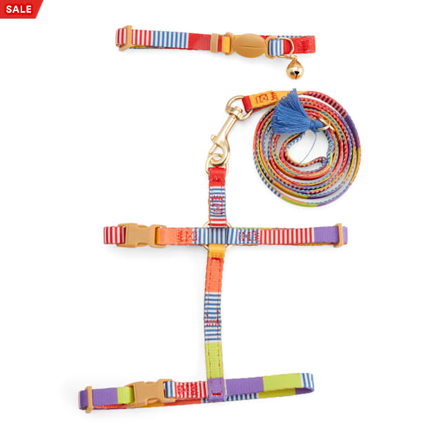 YOULY The Bohemian Multicolor Striped Cat Collar, Leash & Harness Set, Small/Medium - Carousel image #1