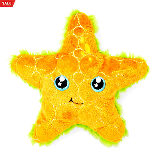 Leaps & Bounds Ruffest & Tuffest Orange Starfish Tough Plush Dog Toy with Kevlar Stitching, Medium - Carousel image #1