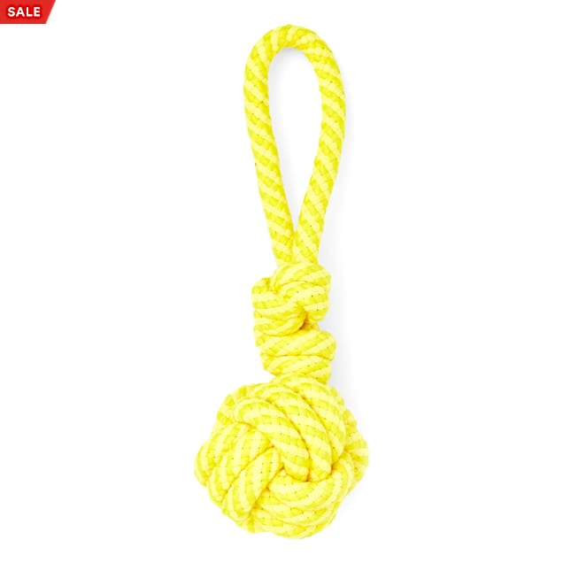 Leaps & Bounds Yellow Monkey Fist Rope Dog Toy, Large - Carousel image #1