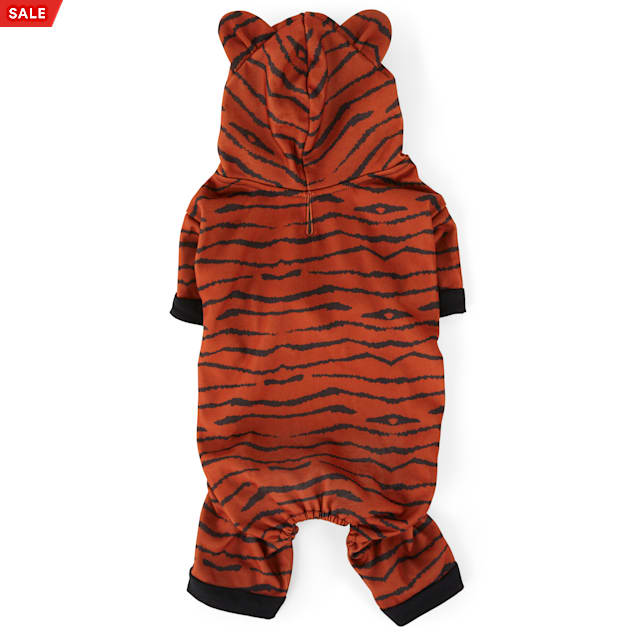 YOULY The Party Animal Tiger-Print Hooded Dog Pajamas, XX-Small - Carousel image #1