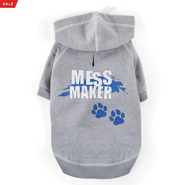 YOULY The Maverick Grey Mess Maker Dog Hoodie, XX-Small - Carousel image #1