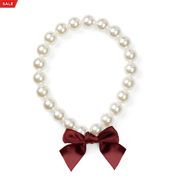 YOULY Bow-Embellished Pearl Dog Necklace, X-Small/Small - Carousel image #1