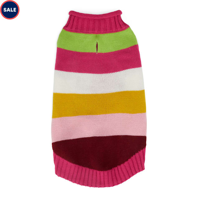 YOULY The Artist Pink & Multicolor Striped Dog Sweater, XX-Small - Carousel image #1