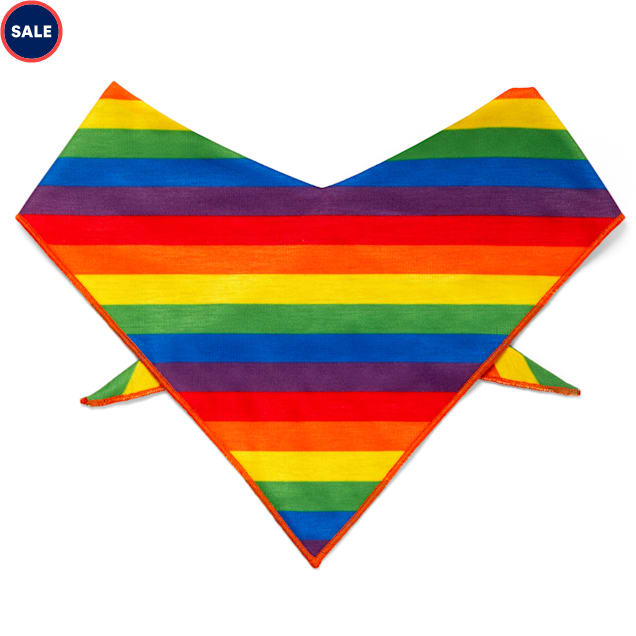 YOULY The Proudest Rainbow Striped Dog Bandana, X-Small/Small - Carousel image #1