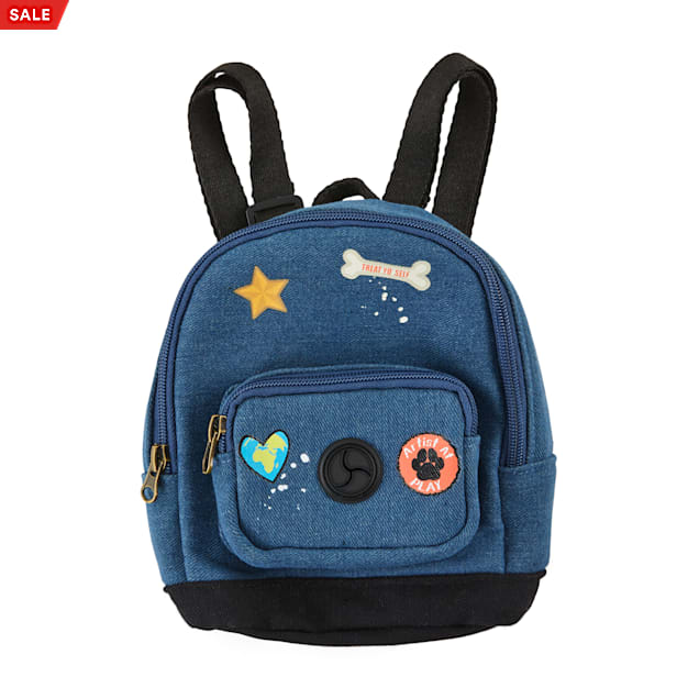 YOULY The Artist Denim Patchwork Dog Backpack, X-Small/Small - Carousel image #1