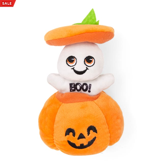 Bootique Peek-a-Boo Pumpkin Bungee Plush Dog Toy, Small - Carousel image #1