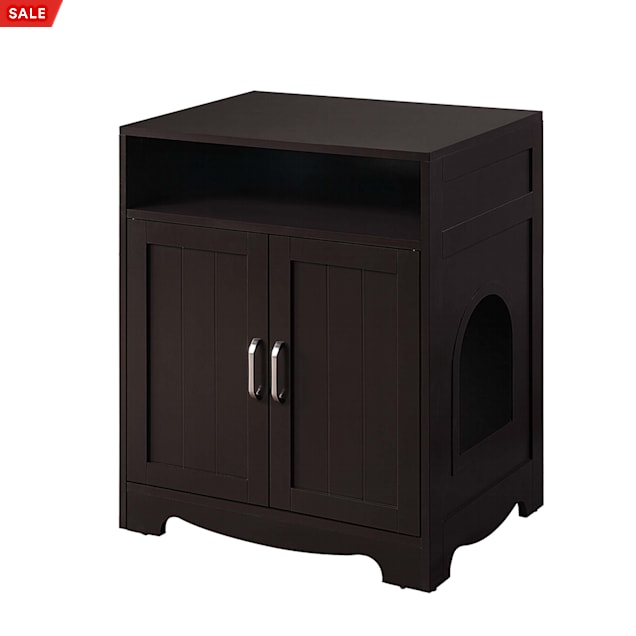 """UniPaws Cat Litter Box Washroom Enclosure Espresso Designed for Quick Assembly, 24"""" L X 17"""" W X 29"""" H - Carousel image #1"""